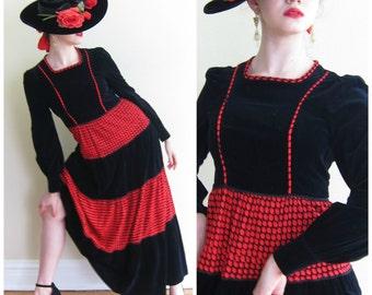 Vintage 1970s Maxi Dress in Black Velvet and Red Print / 70s Prairie Style Long Sleeved Dress / Medium