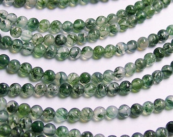Moss agate - 4mm round beads -   full strand -  AA quality - 98 beads - RFG222