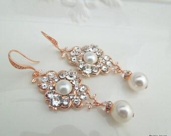 Ivory swarovski Pearl Earrings Pearl Rhinestone Earrings Bridal Earrings wedding Earrings Rose Gold earrings Rhinestone Earrings CLAUDE