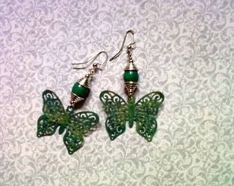Teal Butterfly Earrings (1685)