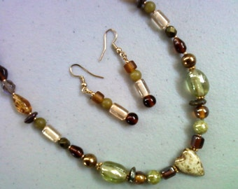 Earthy Colored Necklace and Earrings in Browns and Greens (0209)