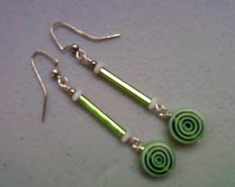 Lime Green and White Earrings (0128)