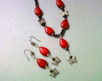 Red, Dark Gray and Silver Butterfly Necklace and Earrings (0895)