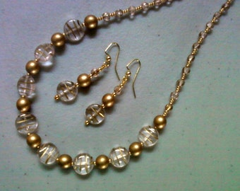 Gold and Crystal Necklace and Earrings (0878)