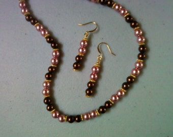 Chocolate Brown and Pink Pearl Necklace and Earrings (0916)