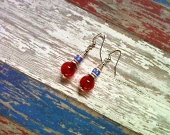 Red, White and Blue Patriotic Earrings (2087)