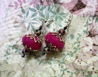 Fuschia and Amethyst Felt Earrings (1561)