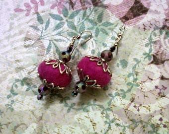 Fuschia and Amethyst Felt Earrings (1561)