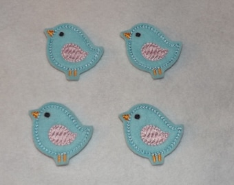 Feltie Machine Embroidered Hand made (4) Felt Bird CUT Embellishments / appliques