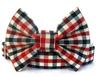 American Gingham Bow Tie Dog Collar with Nickel Plate Hardware - Red White Blue