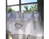 Bathroom Valance, White Linen Window Topper, Love Birds Curtain, White French Cantonniere, Black Embroidery, Tie Top Cafe Curtain