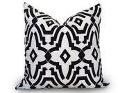 Fret Outdoor Pillow Cover - 18 inch - Black and White - Decorative Pillow - Black and White Pillow - Geometric Pillow - Designer Pillow