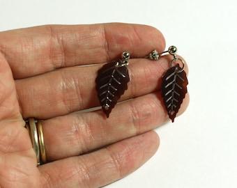 Brown Leaf Sequin Earrings: Brown Leaves Sequin Post Earrings, Girls Jewelry, Teens Earrings