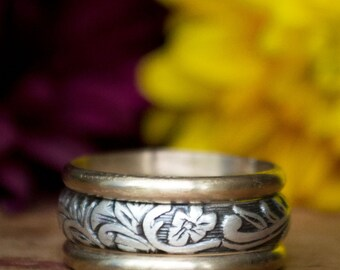 Sterling Silver and 14k Gold Women's Wedding Band - Unique Wedding Band - Wedding Ring Set  - Woman's Wedding Ring - Unique Wedding Ring