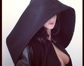 Black WOOL Mix Coat Leather Sleeves Cape Gothic Hood Scarf CHRISST
