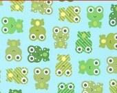 "LAMINATED Cotton  - Frogs Anne Kelle Urban Zoologie - Robert Kaufman, 56"" Wide, BPA & PVC Free"