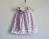 Baby Girls Lavender Sun Dress - Lavender and White Dress and Bloomer Outfit with Chevron Stripes - Size Newborn, 3m, 6m, 9m, 12m or 18m