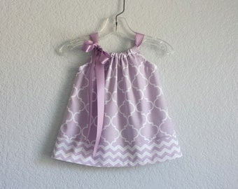 Baby Girls Lavender Dress - Purple and White Easter Dress with Bloomers  - Quatrefoil & Chevron Stripes - Size Nb, 3m, 6m, 9m, 12m or 18m