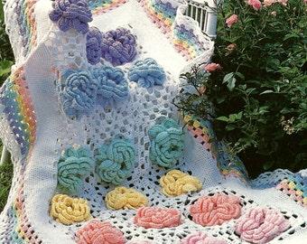 Vintage Crochet Pattern Cabbage Rose Granny Square Flower Afghan Blanket Original