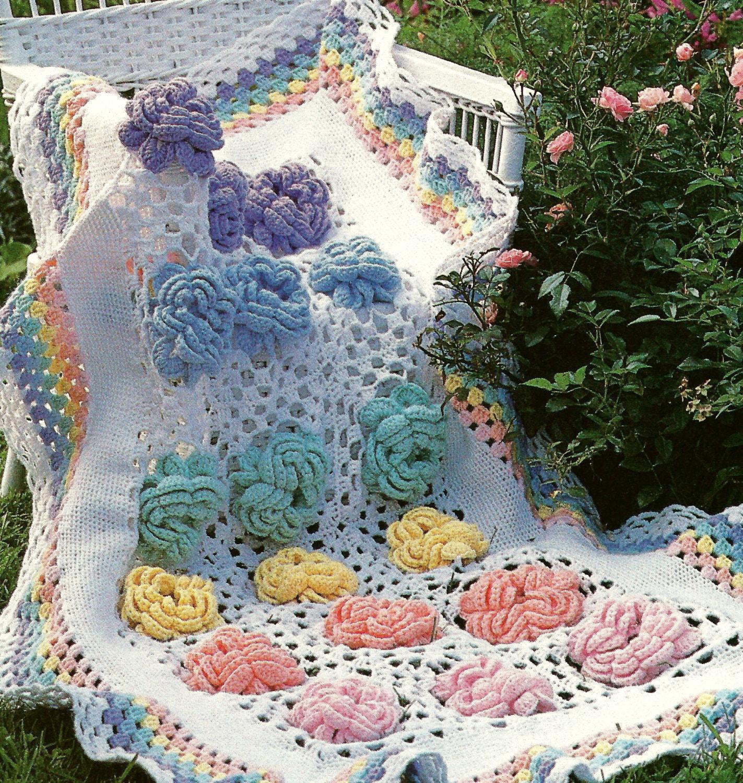 Vintage Crochet Pattern Cabbage Rose Granny Square Flower