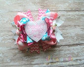 Father's Day Daddy Loves Me Themed Boutique Style Hair Bow Pink Turquiose White