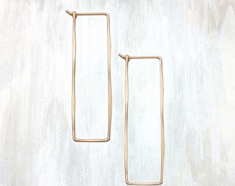 Gold and Rose Gold Hammered Rectangle Earring, Rectangle Hoop