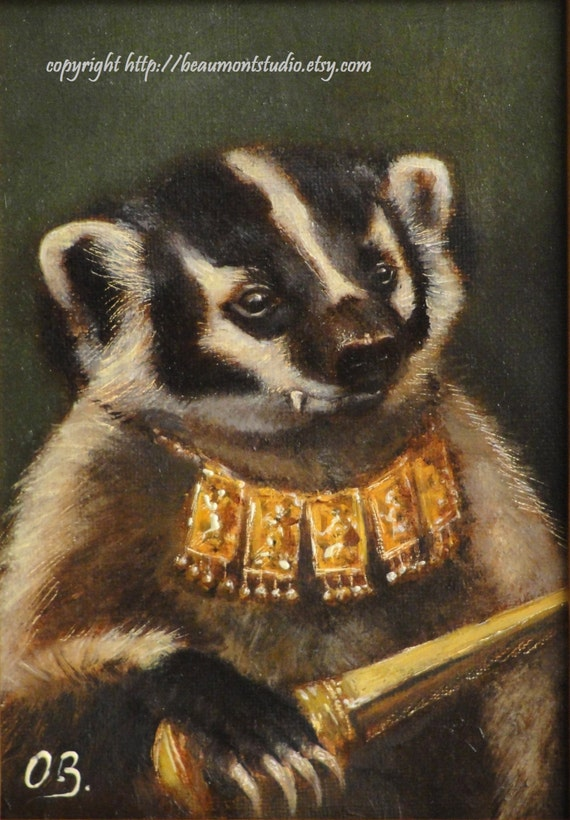 Badger Art - Portrait of a Young Tiger Hunter- ACEO LE