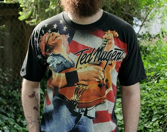 1990's Ted Nugent - One Nation Under Ted - Cat scratch fever - Classic rock n roll American flag unisex t-shirt - men's sz L