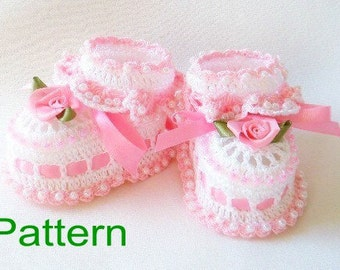 Crochet Baby Booties PDF Pattern Ruffles and Roses Original Design