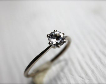 Solitaire Engagement Ring, Simple and Stunning, white sapphire, moissanite, diamonds