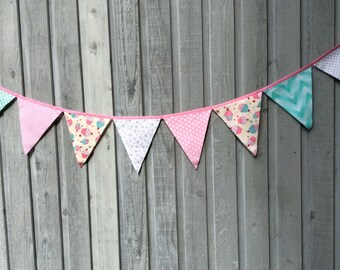 Fabric Bunting Flags Party Banner Cupcakes, Silver Metallic dots, Mint Ombre chevron and pink dots
