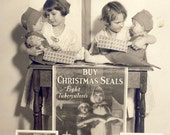 Sisters With ELF DOLLS In CHRISTMAS Seal Display Photo Circa 1940s