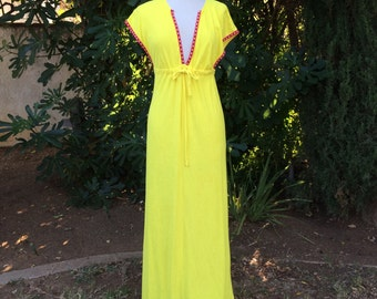 Yellow Terry Cloth Plunging Neckline Caftan 70s Vintage Swimsuit Cover Up Loungewear Maxi Dress