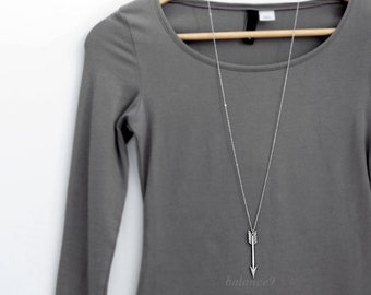 Arrow Necklace Gift, long silver arrow pendant necklace, girlfriend gift layering archer necklace, by balance9