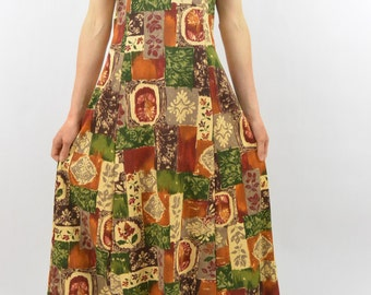Vintage Patched Midi Dress, Size XS-Small, Earth Tones, Boho, Floral, Leaf print, Nature Girl, 90's Clothing, Hippie Dress