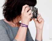 Crochet wrap Bracelet . Purple . Textile jewelry. Threaded bracelet. Crochet jewelry . Friendship Bracelet
