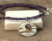 Amethyst Necklace, Sterling Silver and Amethyst Round Pendant, Statement Necklace, February Birthstone Gift For Her, Fine Greek Jewellery