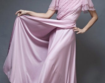 vintage 70s maxi dress wrap pink sheer ruffles short sleeves slinky soft SMALL S