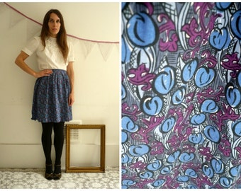 Vintage Cotton Mid Century Floral Pattern Mini Skirt Size Large