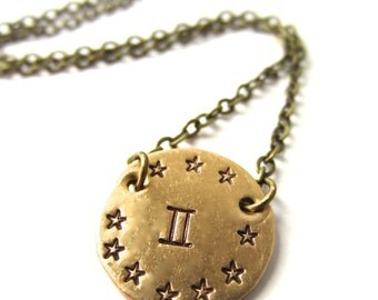 Gemini Necklace Zodiac Necklace Gemini Astrology Sign Pendant Gemini Zodiac Jewelry Astrological Necklace
