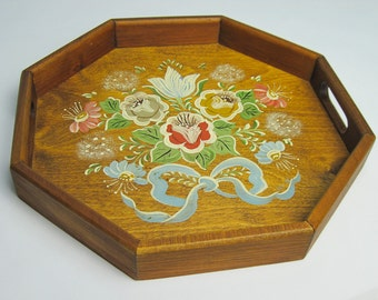 Wood Serving Tray / Hand Painted Floral / Hexagon Tray / Display Tray / ca 1988