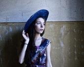 Ornamented print midi Dress - Blue magenta pink striped Hippie dress