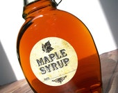 Vintage Maple Syrup bottle labels, round mason jar labels, wedding and shower favor stickers, rustic maple leaf, maple syrup label