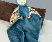 Lovey, Security Blanket, Cat Blanket Doll, Blue Minky and Houndstooth, Baby Boy, Stuffed Animal, Baby Blanket, Toy, Personalization