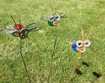 Lightning Bug Firefly Light Bulb Recycled Yard Art