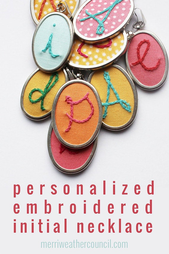 Personalized Jewelry Gifts for Mom. Mommy Necklace. Hand Embroidered Pendant. Childs Initial. Mothers Day Gift. New Mom Colorful necklace
