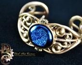 COURT VICTORIANA - Druze, Victorian Bracelet, Steampunk, Bronze Cuff, Cosplay Jewelry, Blue Rock, Pastel Goth, Gothic Lolita,