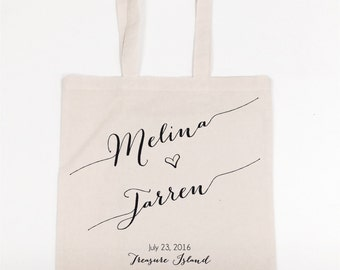 Reuseable Cotton Muslin Favor Bag Guest Bags Giveaway Custom Bride and Groom Names