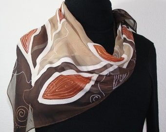 Beige, Brown Hand Painted Silk Shawl African Coffee. Extra-Large Square 35x35. Silk Scarves Colorado. Elegant Silk Scarf. Birthday Gift