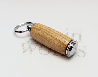 Deluxe Pill Holder Key Chain - American White Ash Wood with Chrome Accents (Gift Ready)